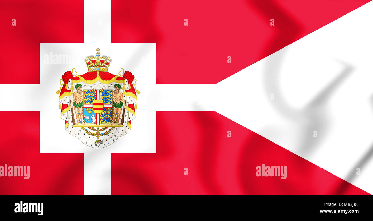 3D Royal Standard of Denmark. 3D Illustration. - Stock Image