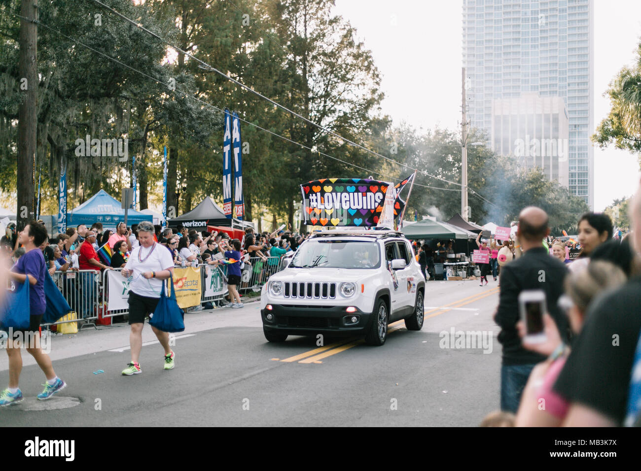 Love wins car at Orlando Pride Parade (2016). - Stock Image