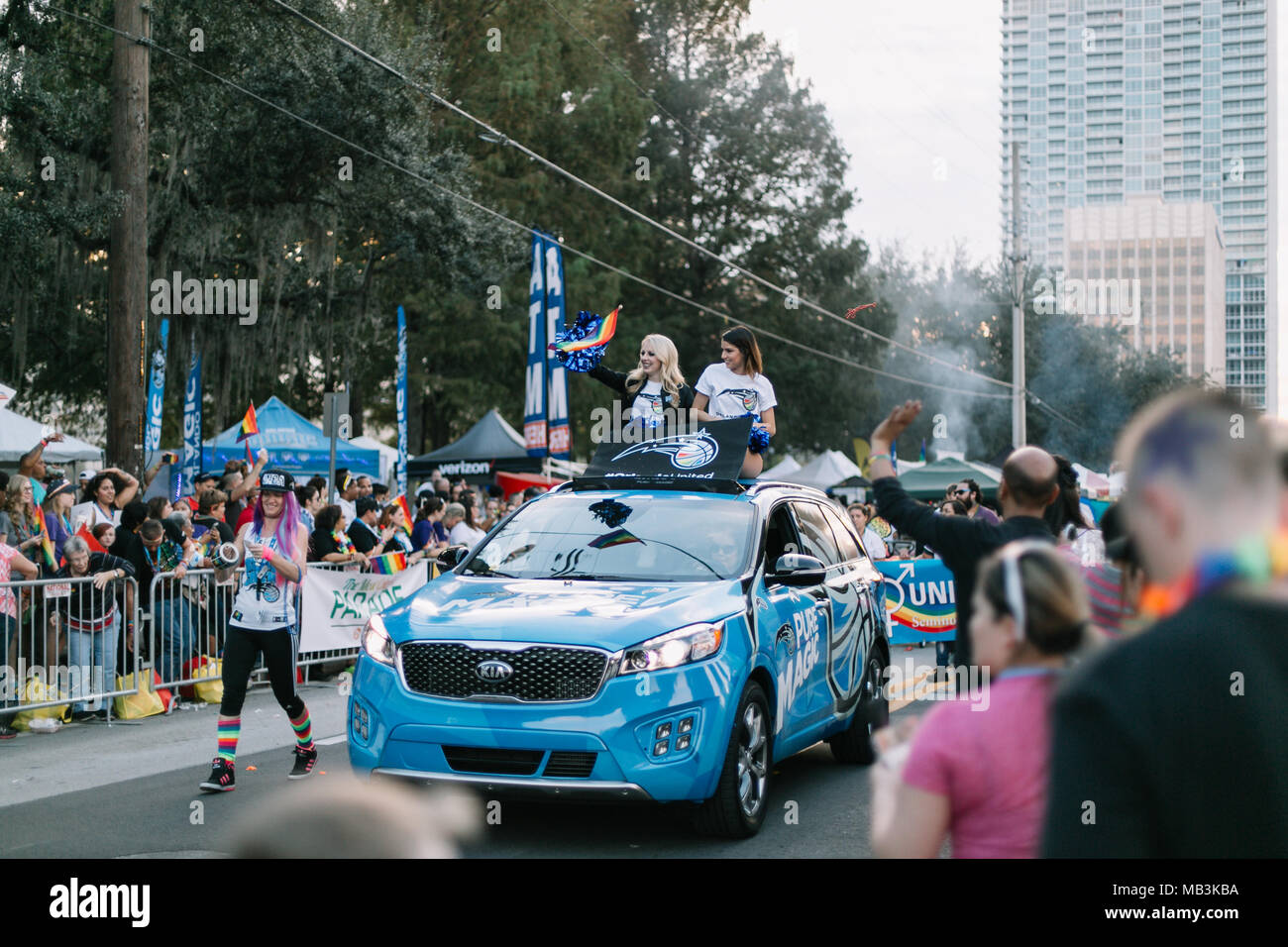 Orlando Magic Cheerleaders at the Orlando Pride Parade (2016). - Stock Image