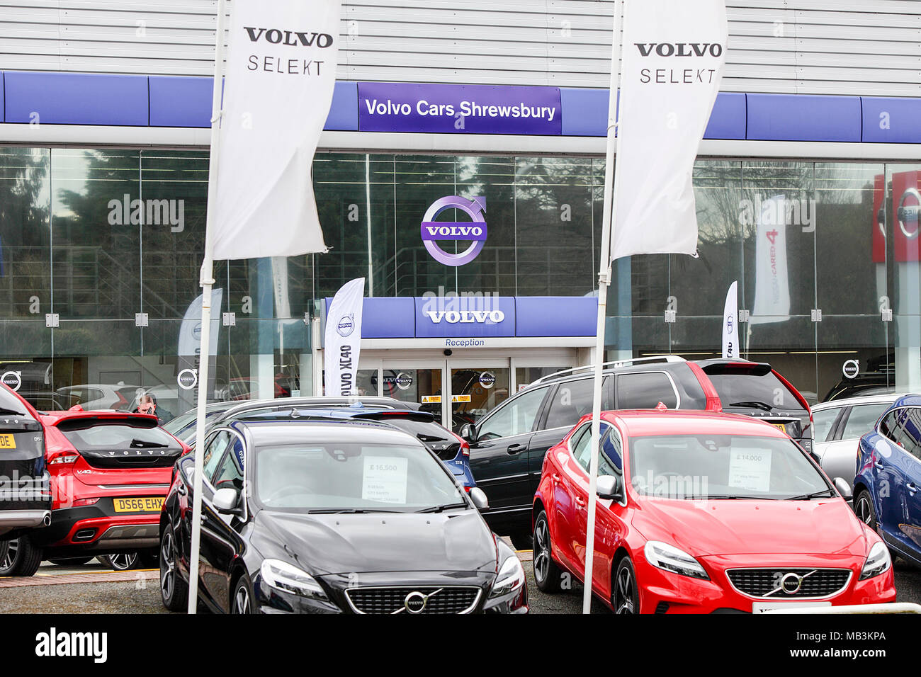 One of (20) images in this short set related to various retail, private and NHS properties in the Shrewsbury area. Volvo Car dealership viewed here. Stock Photo