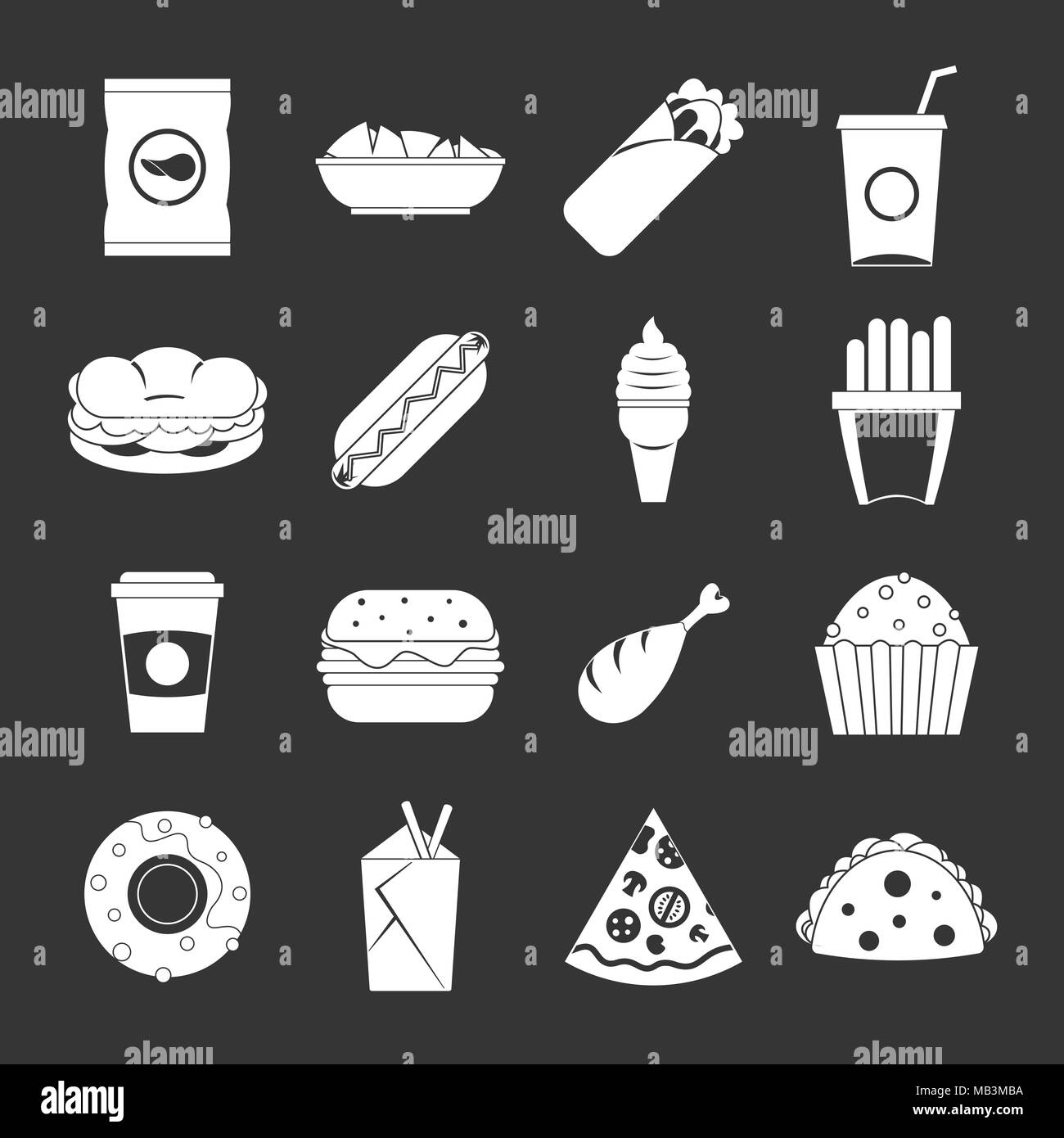 Fast food icons set grey vector - Stock Image