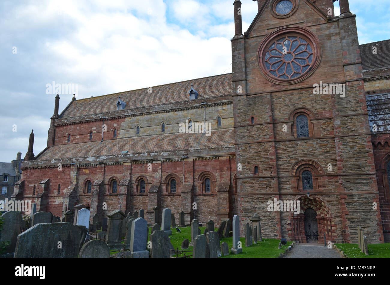 Ancient Saint Magnus cathedral in Kirkwall, Orkney archipelago, Scotland - Stock Image