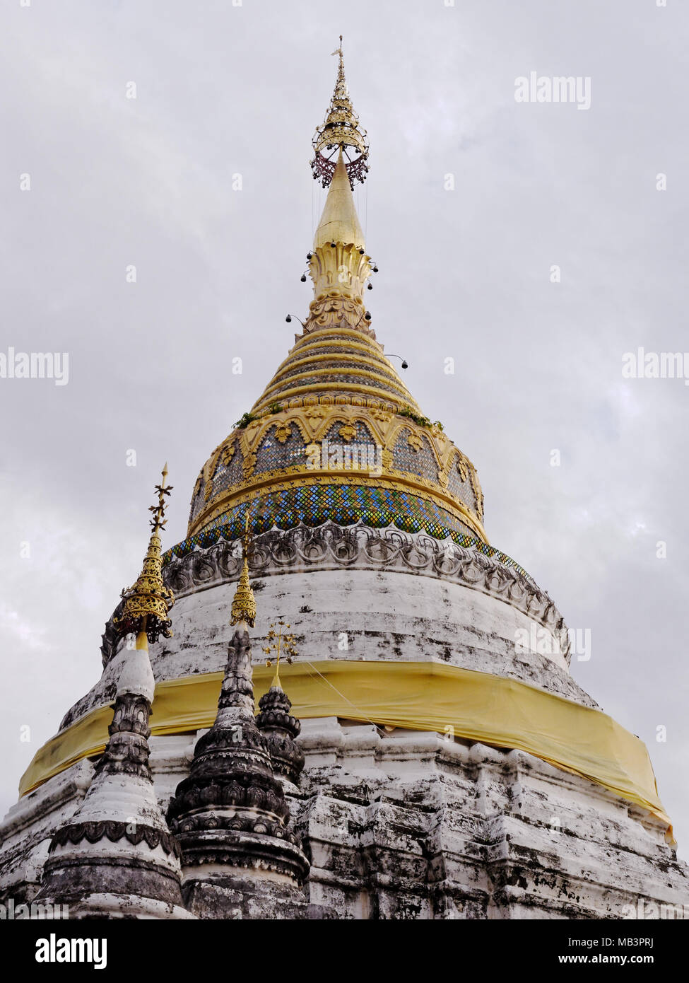Main stupa or pagoda and sky background in Buppharam temple, which is famous tourist destination in Chiang Mai, Thailand Stock Photo