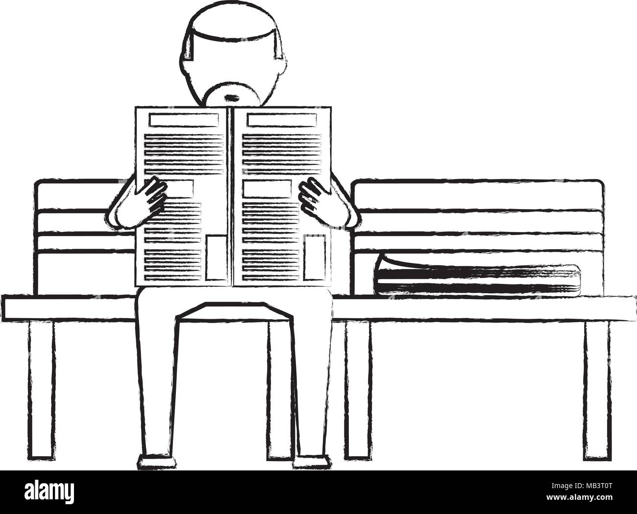 sketch of old man sitting reading a newspaper on a bench over white background, vector illustration Stock Vector