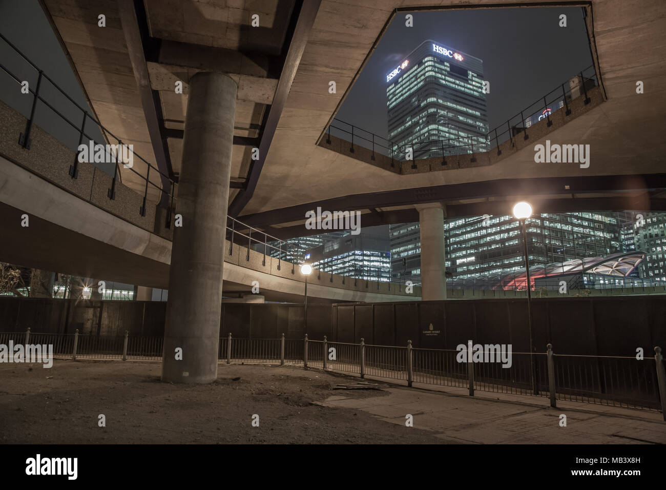 Night Photography on the Isle of Dogs - Stock Image