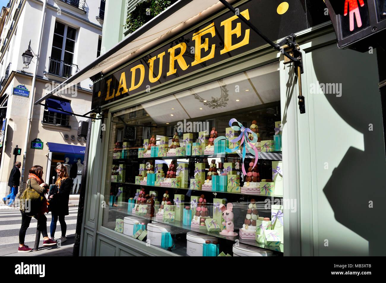 Ladurée pastry shop in Paris - France - Stock Image