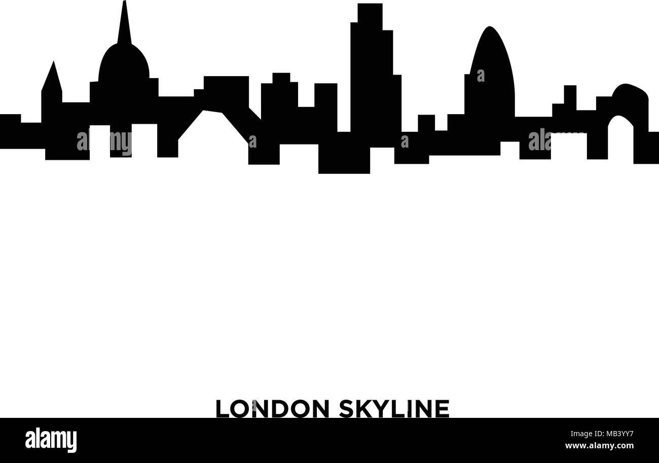 London Skyline Silhouette On White Background In Black