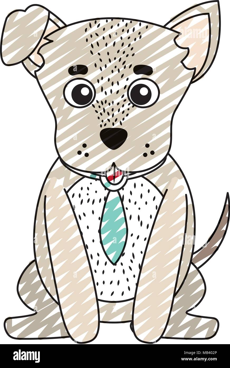 doodle cute dog pet animal with tie - Stock Image