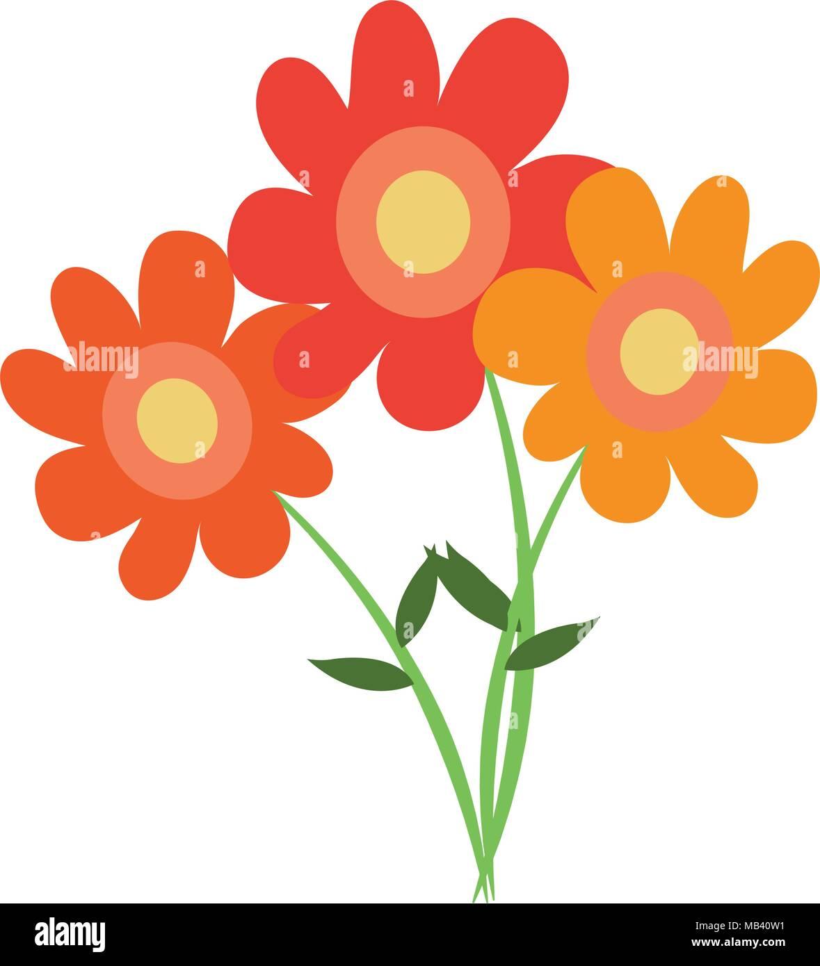 Beautiful Flowers Cartoon Stock Vector Art Illustration Vector