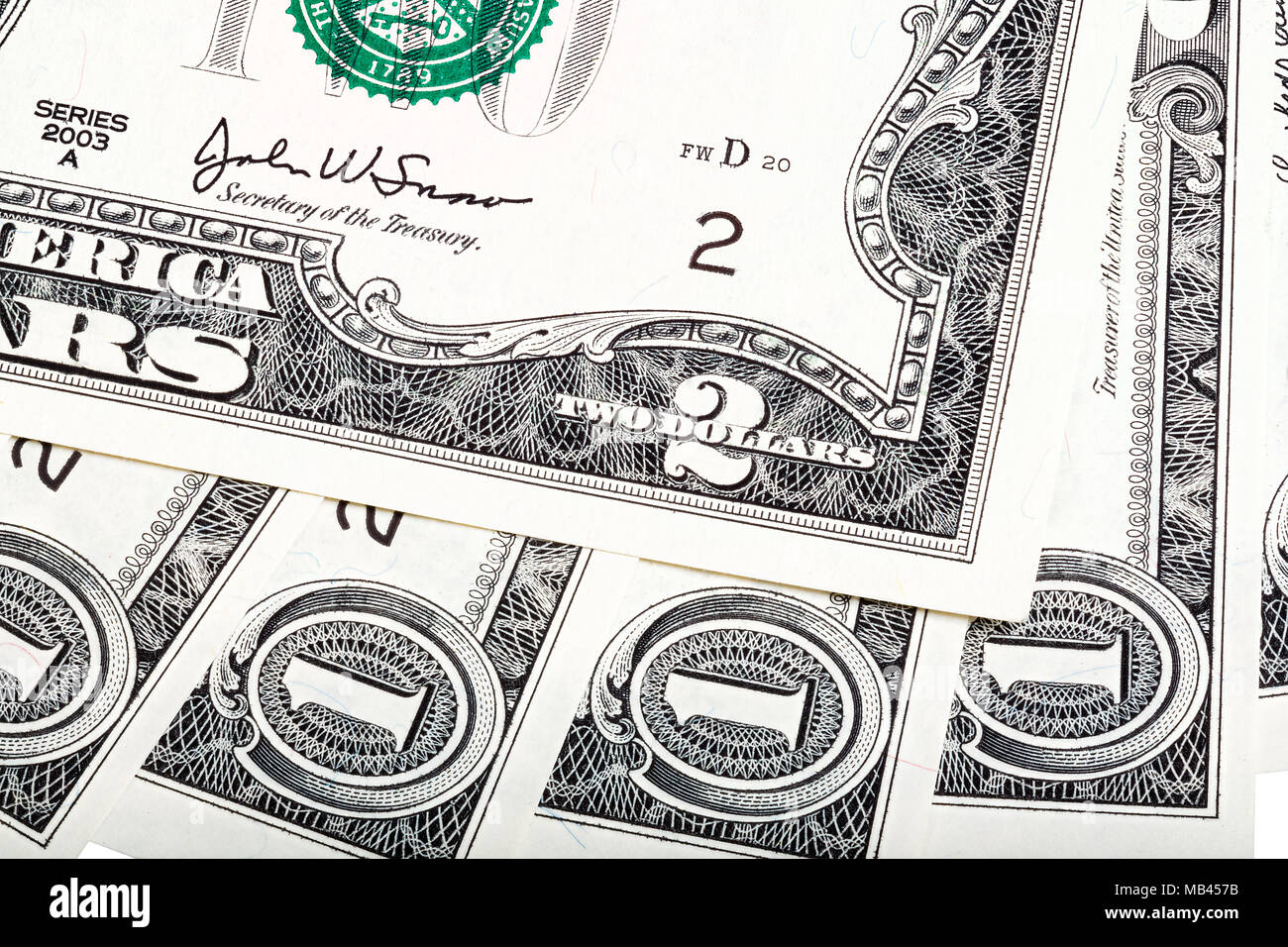 Interesting abstract composition from American money, one end tw - Stock Image