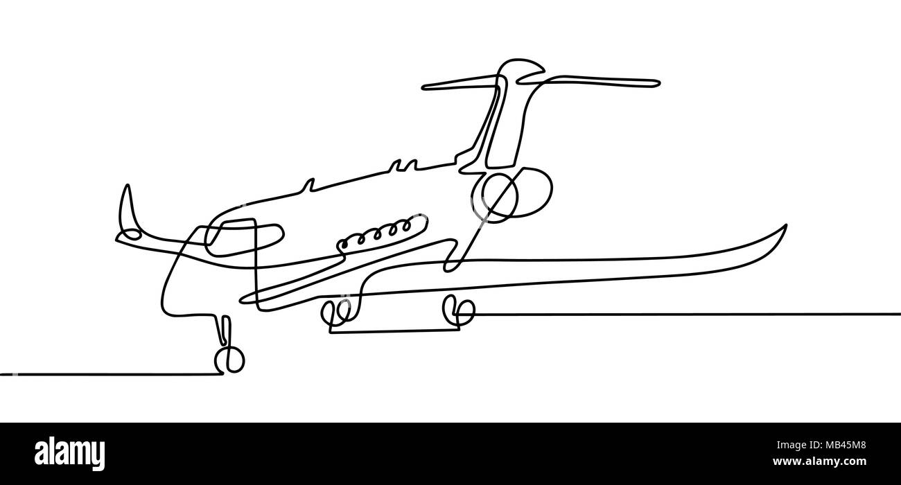 Continuous One Line Drawing Of Aircraft In Modern Minimalistic S