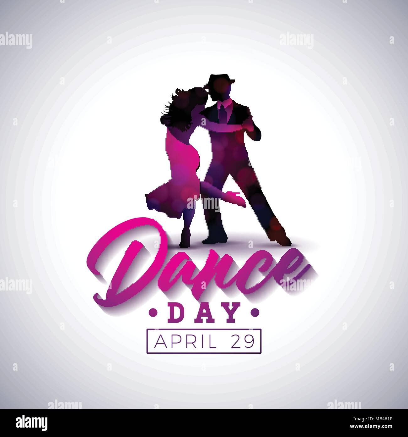 International Dance Day Vector Illustration With Tango Dancing Couple On White Background Design Template For Banner Flyer Invitation Brochure Poster Or Greeting Card Stock Vector Image Art Alamy