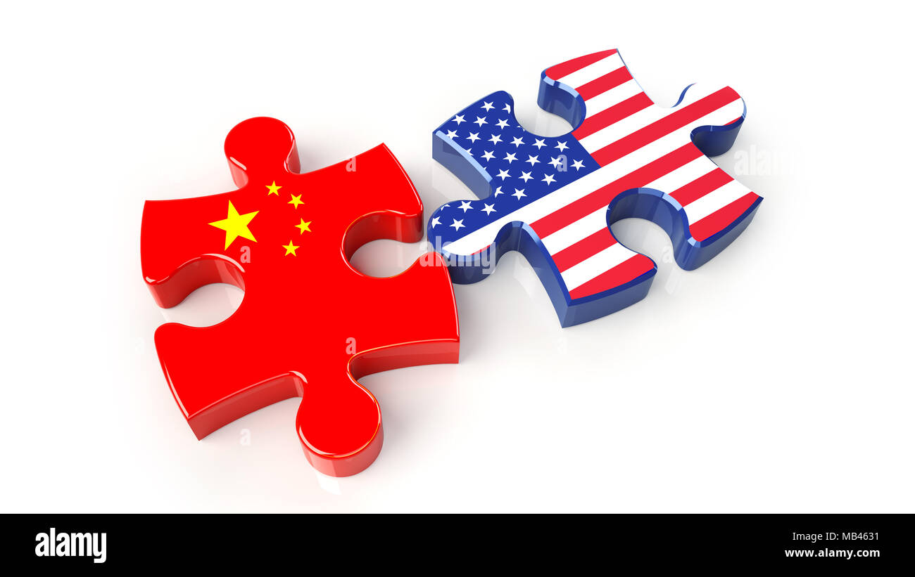 USA and China flags on puzzle pieces. Political relationship concept. 3D rendering - Stock Image