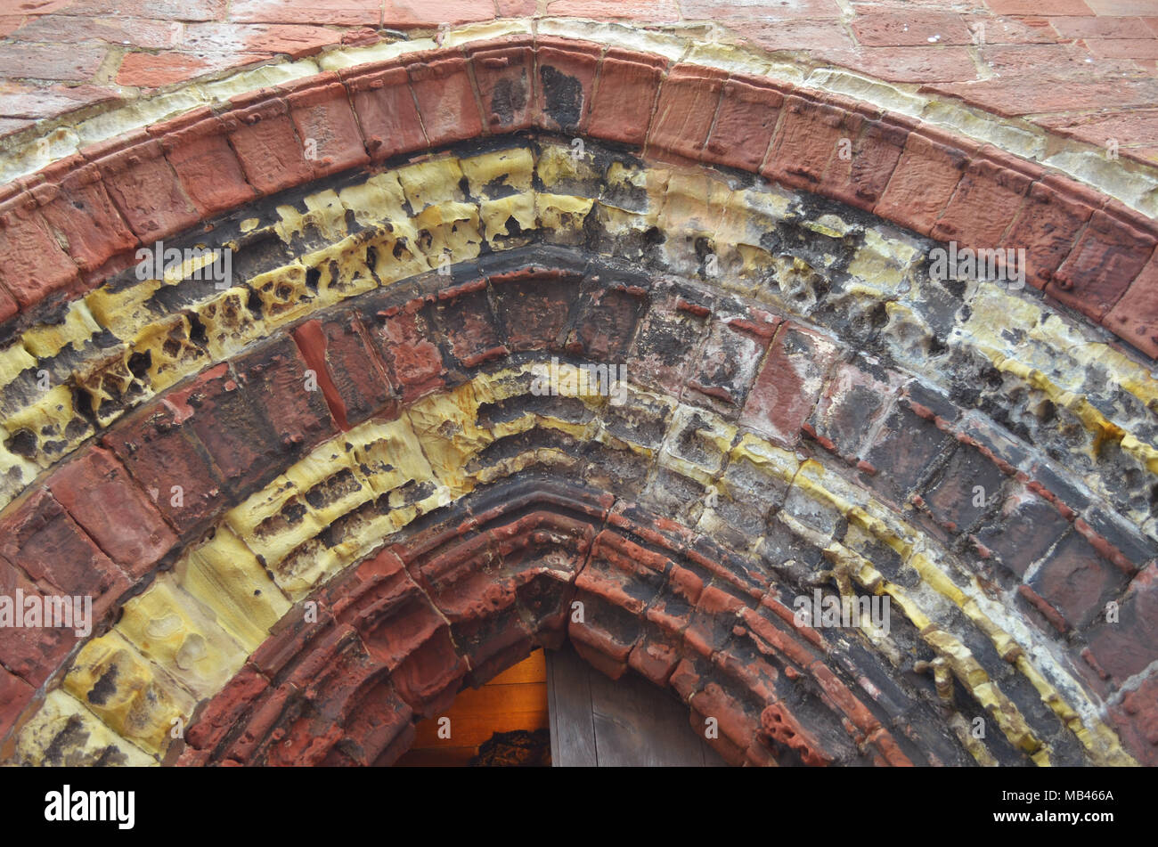 Decorative details in ancient St Magnus cathedral, Kirkwall, Orkney islands, Scotland - Stock Image