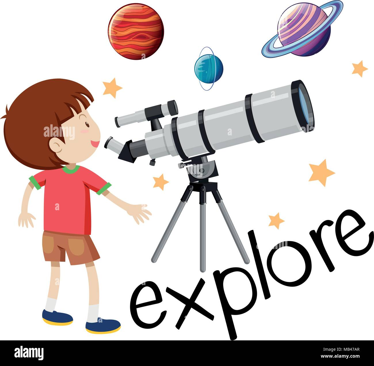 Flashcard for explore with kid looking through telescope illustration - Stock Vector