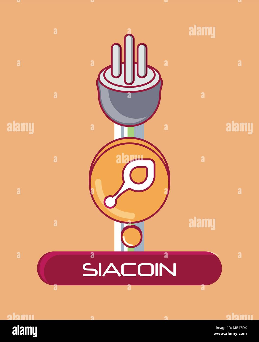 Siacoin coin with plug over ornage background, colorful design. vector illustration - Stock Image