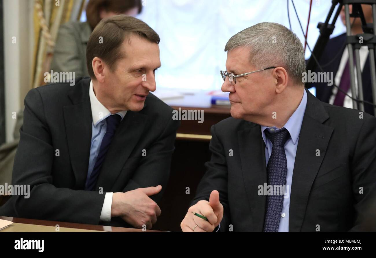 Director of the Russian Foreign Intelligence Service Sergei Naryshkin, left, and Prosecutor General Yury Chaika chat before the start of a Security Council meeting at the Kremlin April 6, 2018 in Moscow, Russia. - Stock Image