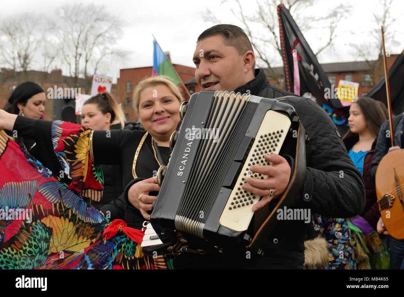 Govanhill, Glasgow, Scotland, UK. 7th April, 2018.  The 5th annual International Roma day was celebrated in Govanhill today with a parade, traditional dress, food and music. - Stock Image