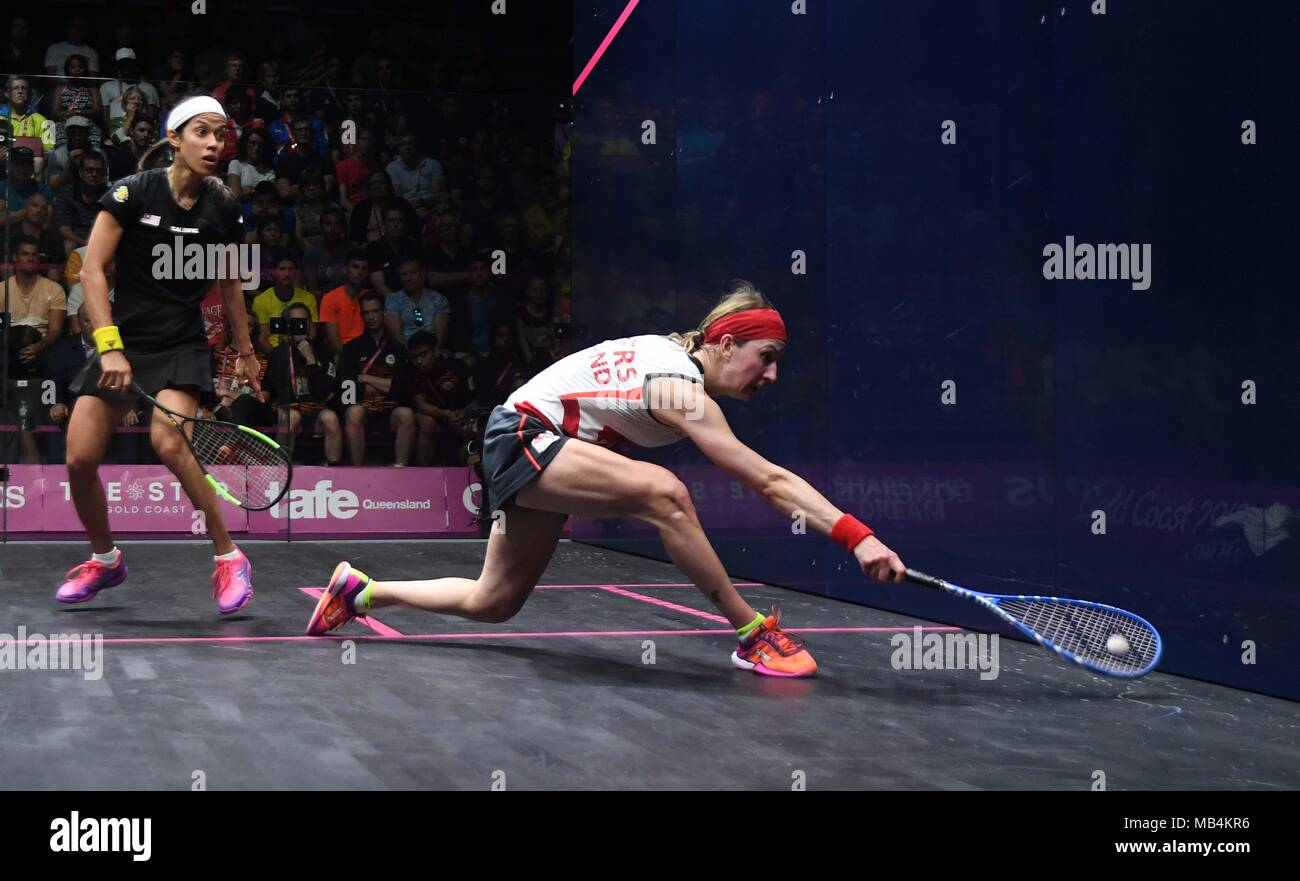 Alison Waters (ENG) and Nicol David (MAS) in the womens quarter final. Squash. XXI Commonwealth games. Oxenford studios. Gold Coast 2018. Queensland. Australia. 07/04/2018. - Stock Image