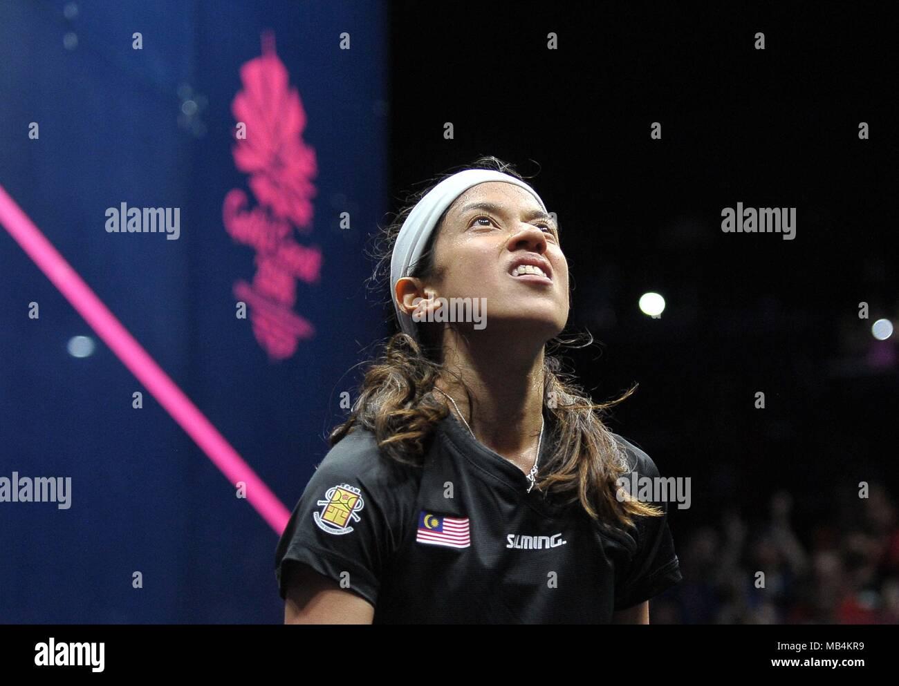 Nicol David (MAS) in the womens quarter final. Squash. XXI Commonwealth games. Oxenford studios. Gold Coast 2018. Queensland. Australia. 07/04/2018. - Stock Image