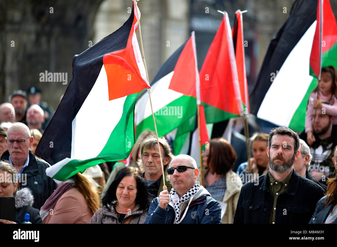 Londonderry, Northern Ireland 7th April, 2018.  Palestinian Solidarity Rally. Several Hundred people attend a rally in solidarity with the Palestinian Great March of Return. The protest was organized by the Ireland Palestine Solidarity Campaign.  ©George Sweeney / Alamy Live News - Stock Image