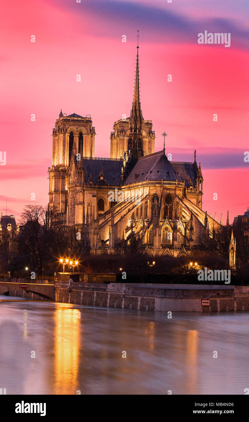 The Notre Dame is historic Catholic cathedral, one of the most visited monuments in Paris. Stock Photo