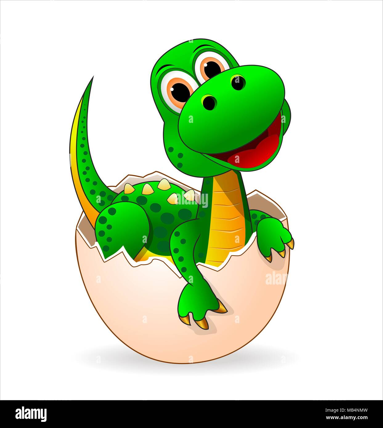 Small green dinosaur who just hatched from the egg. - Stock Vector
