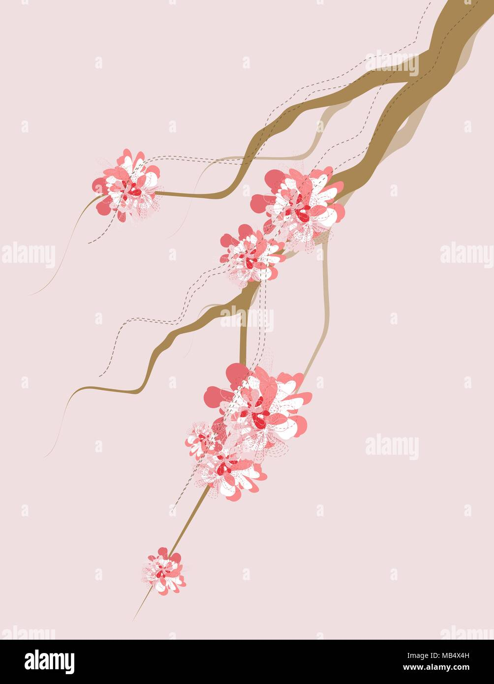 Some tree branches with artistic flair with some blossoms. All swatches are global, makes for easy color swapping to whatever you would like. All obje - Stock Vector