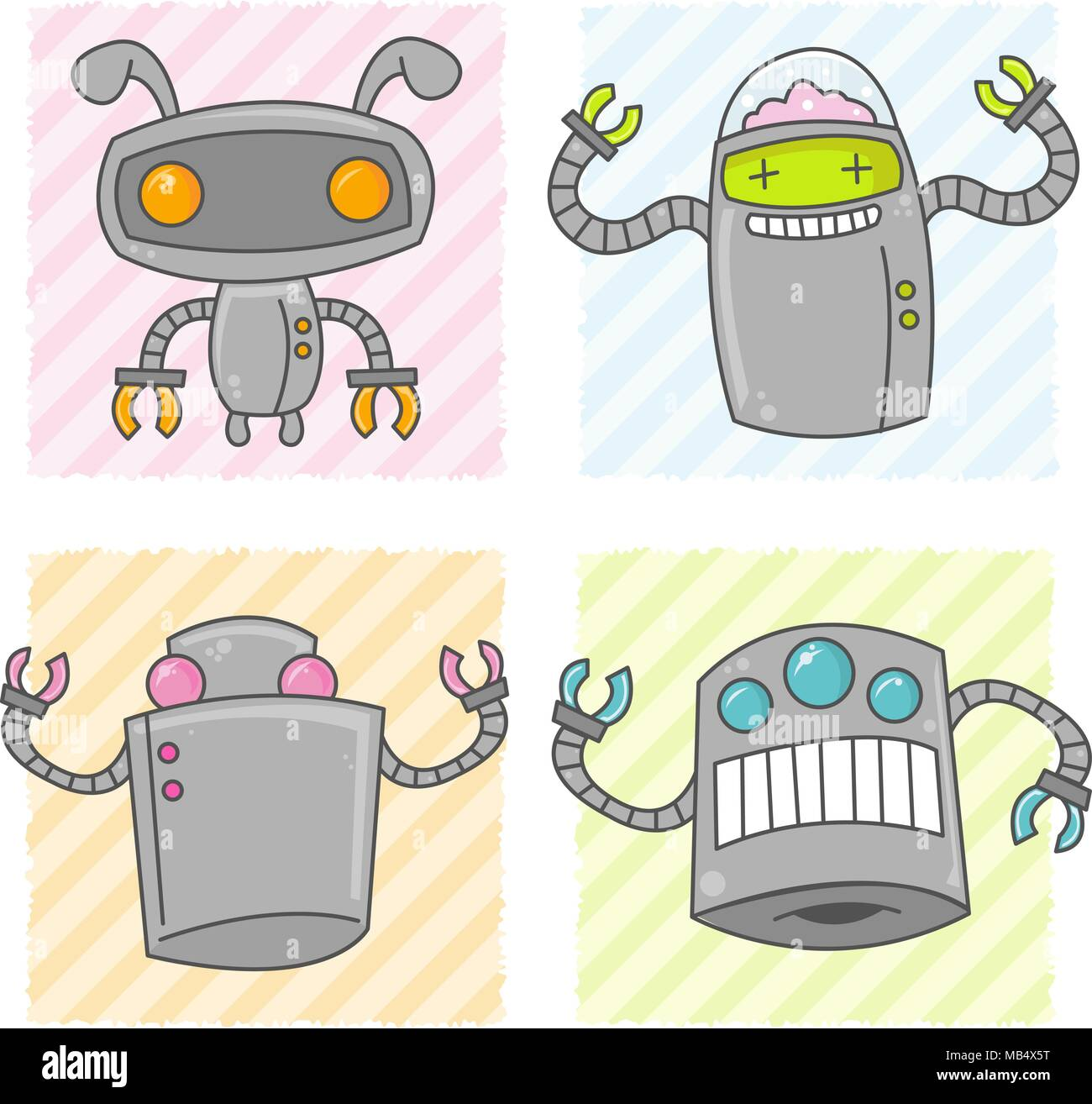Some happy cute vector robots with claw arms. - Stock Vector