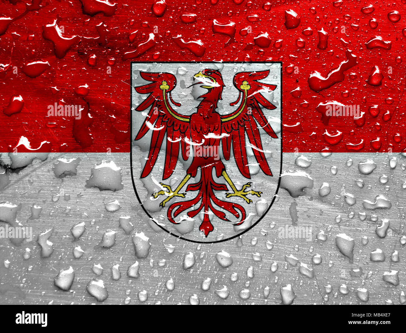 flag of Brandenburg with rain drops - Stock Image