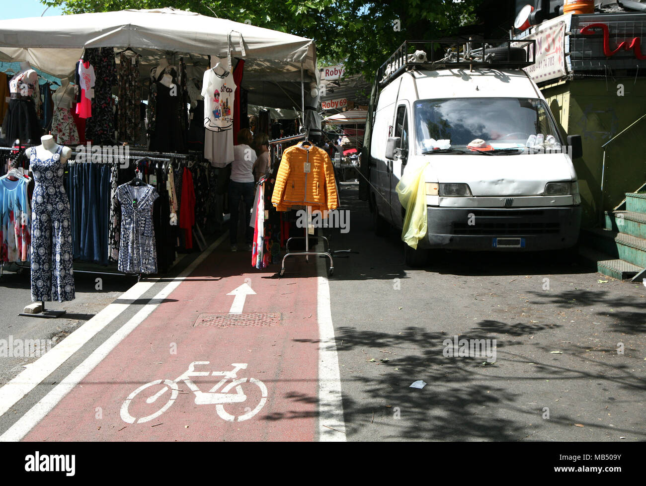 Flee market in the bike lane Porta Portese Rome, Italy - Stock Image