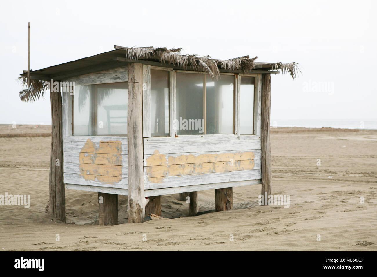 Hut on the beach - Stock Image