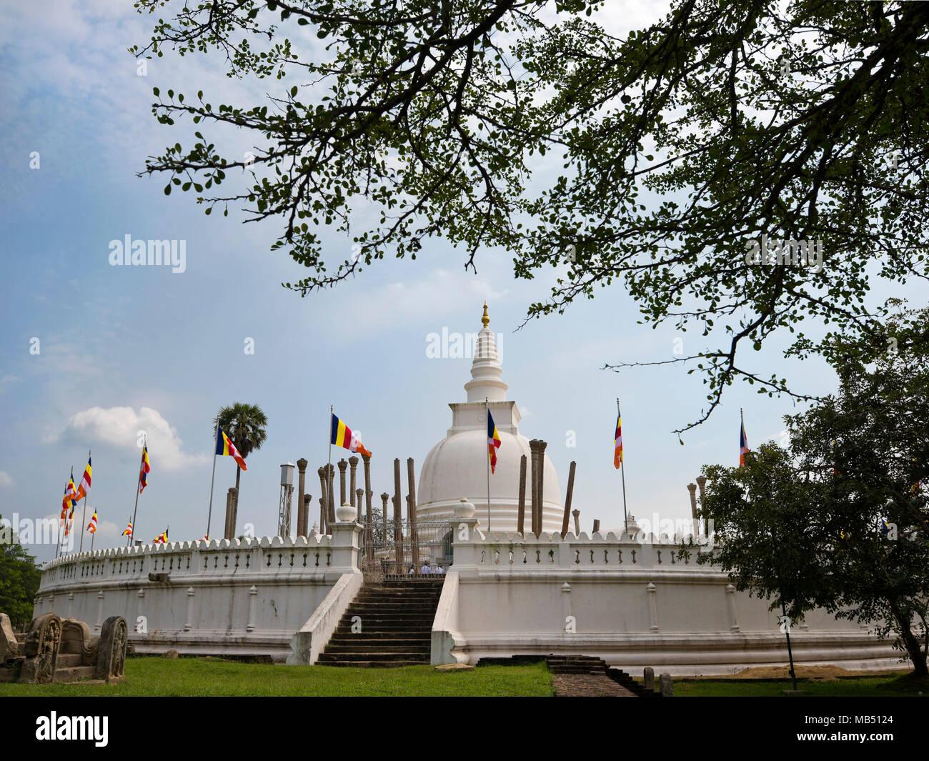 Horizontal view of Thuparamaya dagoba or stupa in Anuradhapura, Sri Lanka. - Stock Image