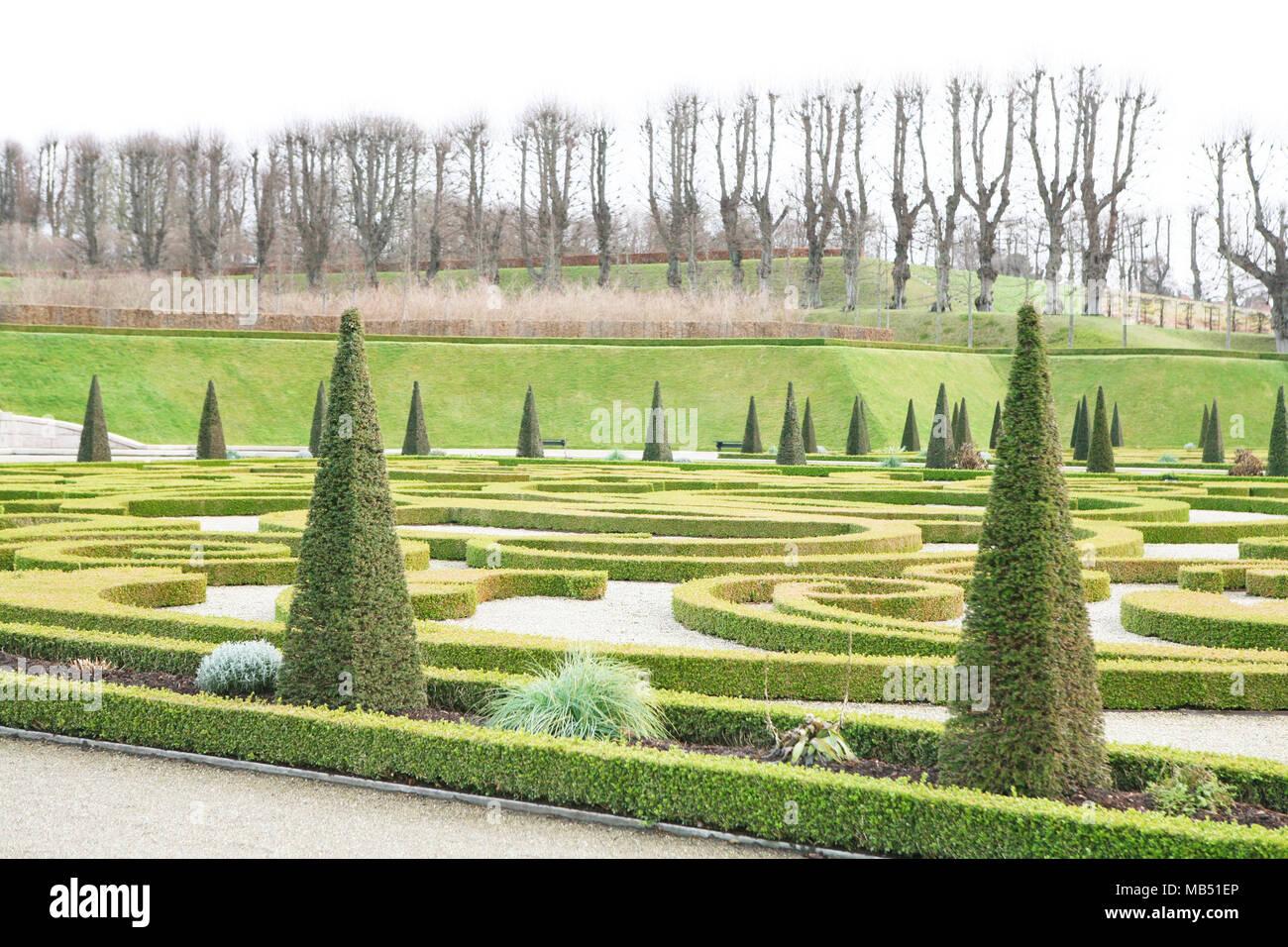 Formal garden at Hillerod castle, Denmark - Stock Image