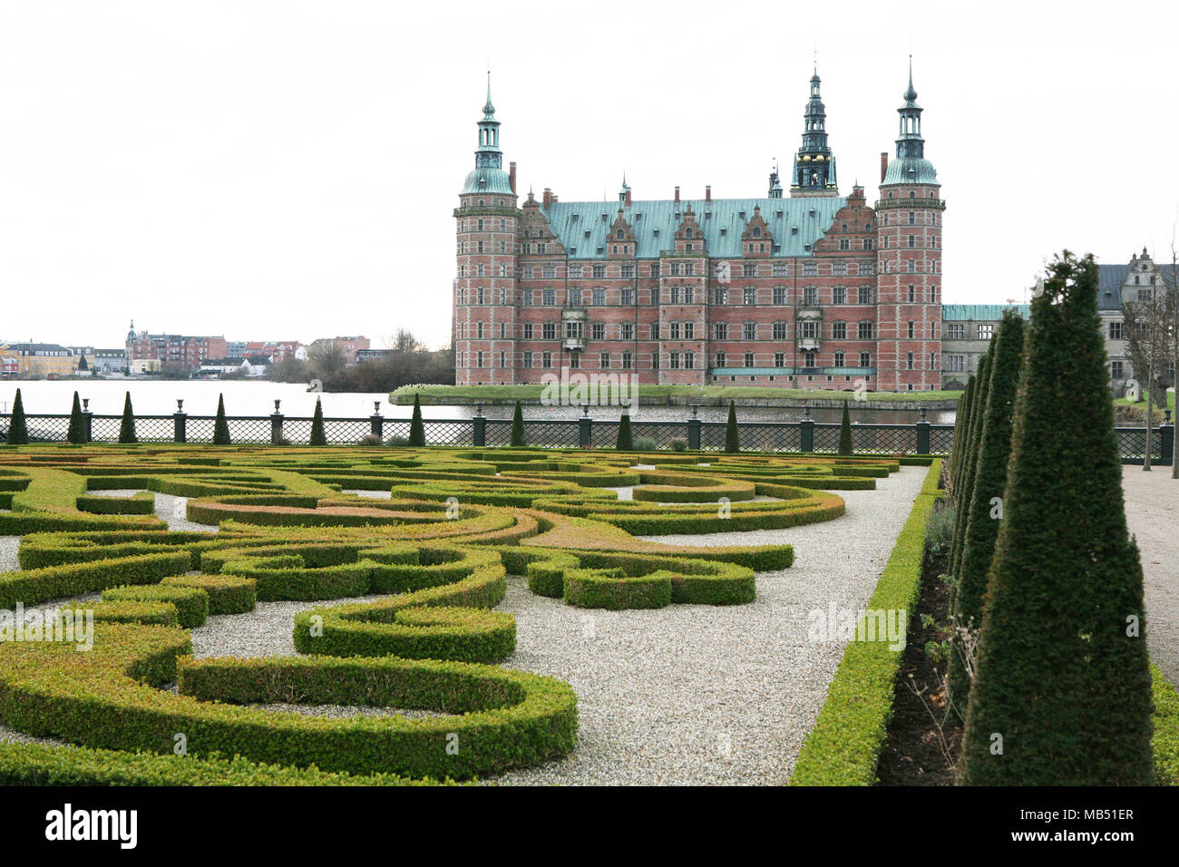 The castle and the garden at Hillerod, Denmark - Stock Image