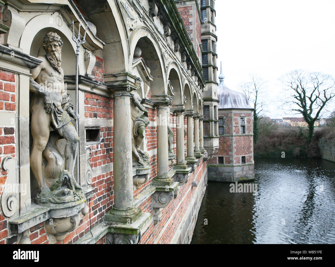 The ditch of the Hillerod castle, Denmark - Stock Image