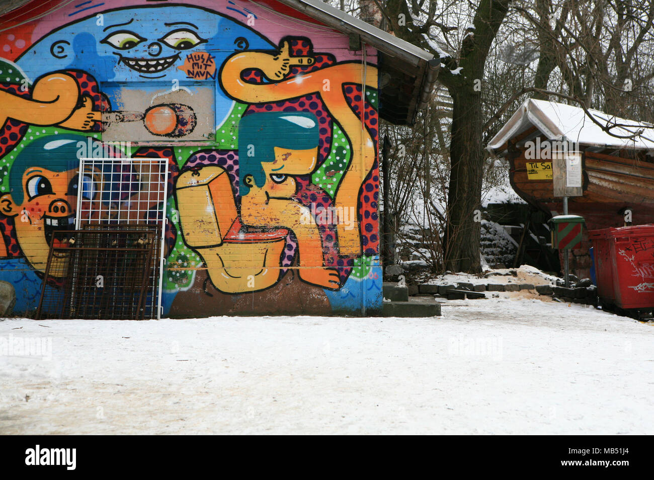 Fancy house with graffiti in Christiania, Copenhagen, Denmark - Stock Image