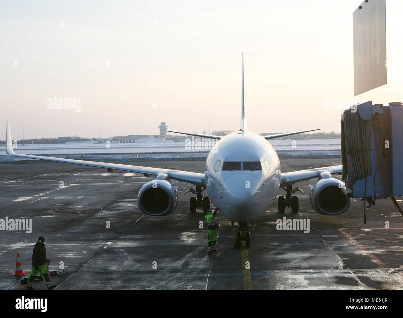 Aircraft at the airport gate, Copenhagen, Denmark - Stock Image
