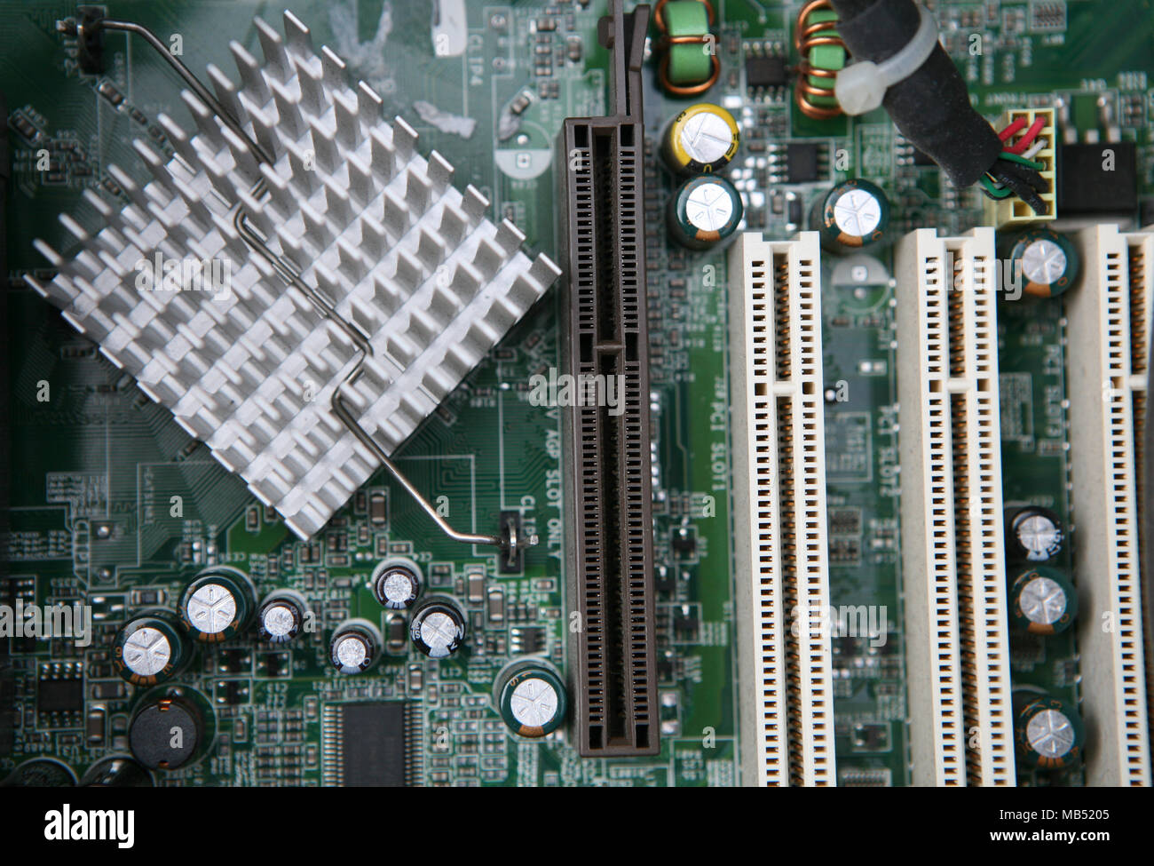 PCI-E slots on the PC motherboard - Stock Image