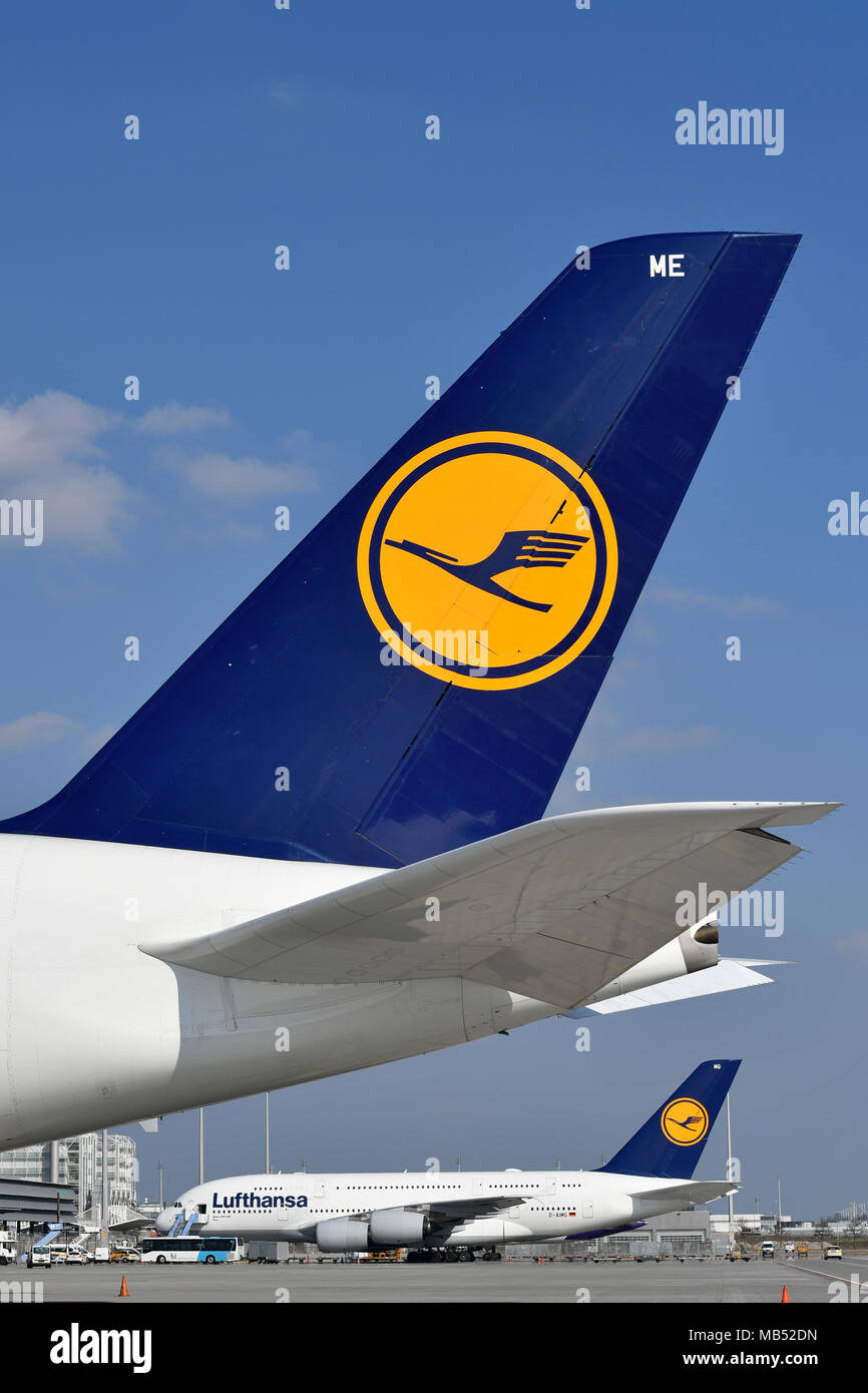 Two Airbus, A380-800, Lufthansa, in parking position, logo on rear wing, Munich Airport, Upper Bavaria, Bavaria, Germany - Stock Image