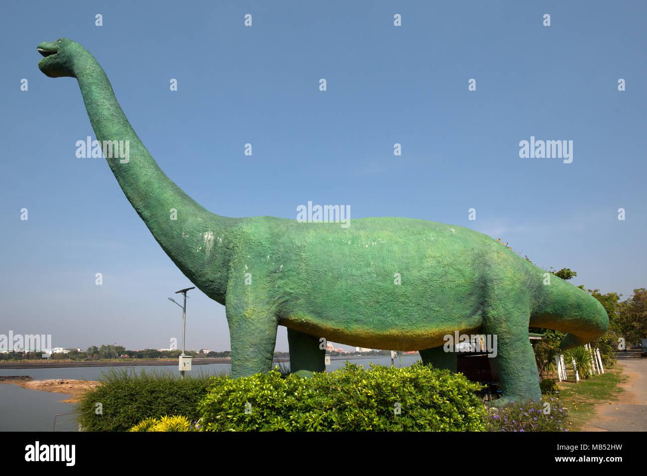 Dinosaurs at Kaen Nakhon Lake, Dino Water Park, Khon Kaen, Isan, Thailand - Stock Image