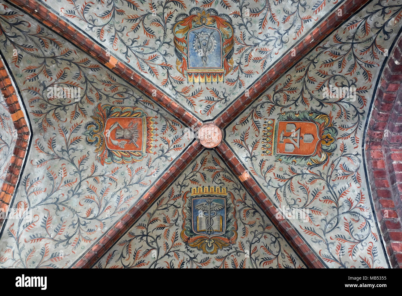 Decorated vault, ceiling in the Gerichtslaube, 15th century, Town Hall, Jüterbog, Brandenburg, Germany - Stock Image