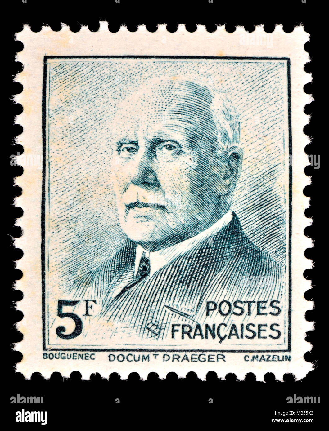French postage stamp (1942) : Marshal Henri Philippe Benoni Omer Joseph Pétain (1856 – 1951) Maréchal Pétain. Prime Minister during WW2 and convicted  - Stock Image