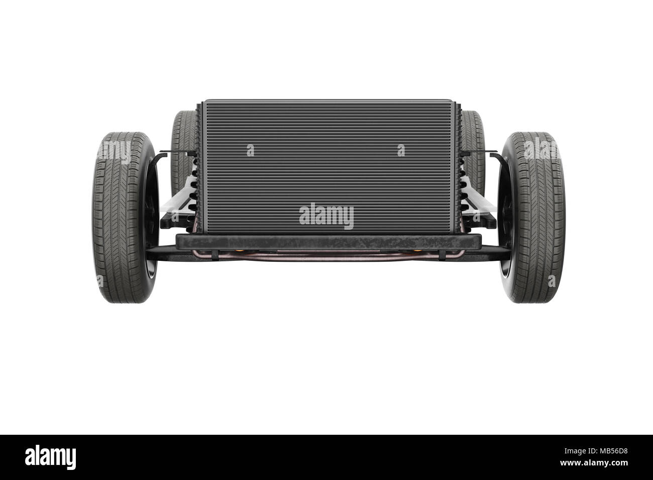 Chassis frame dirt underbody, frontal view. 3D rendering Stock Photo ...