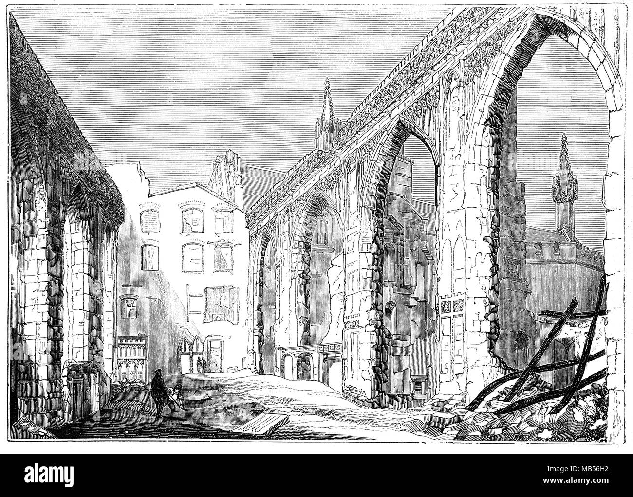 St Stephen's Chapel Ruins,  after the fire that destroyed the Palace of Westminster on 16 October 1834. Scattered throughout the Chapel are pieces of masonry from the destroyed House of Commons (formerly St Stephen's Chapel) above. During the construction of the new Palace of Westminster there was much debate about whether to reinstate the space as a chapel. - Stock Image