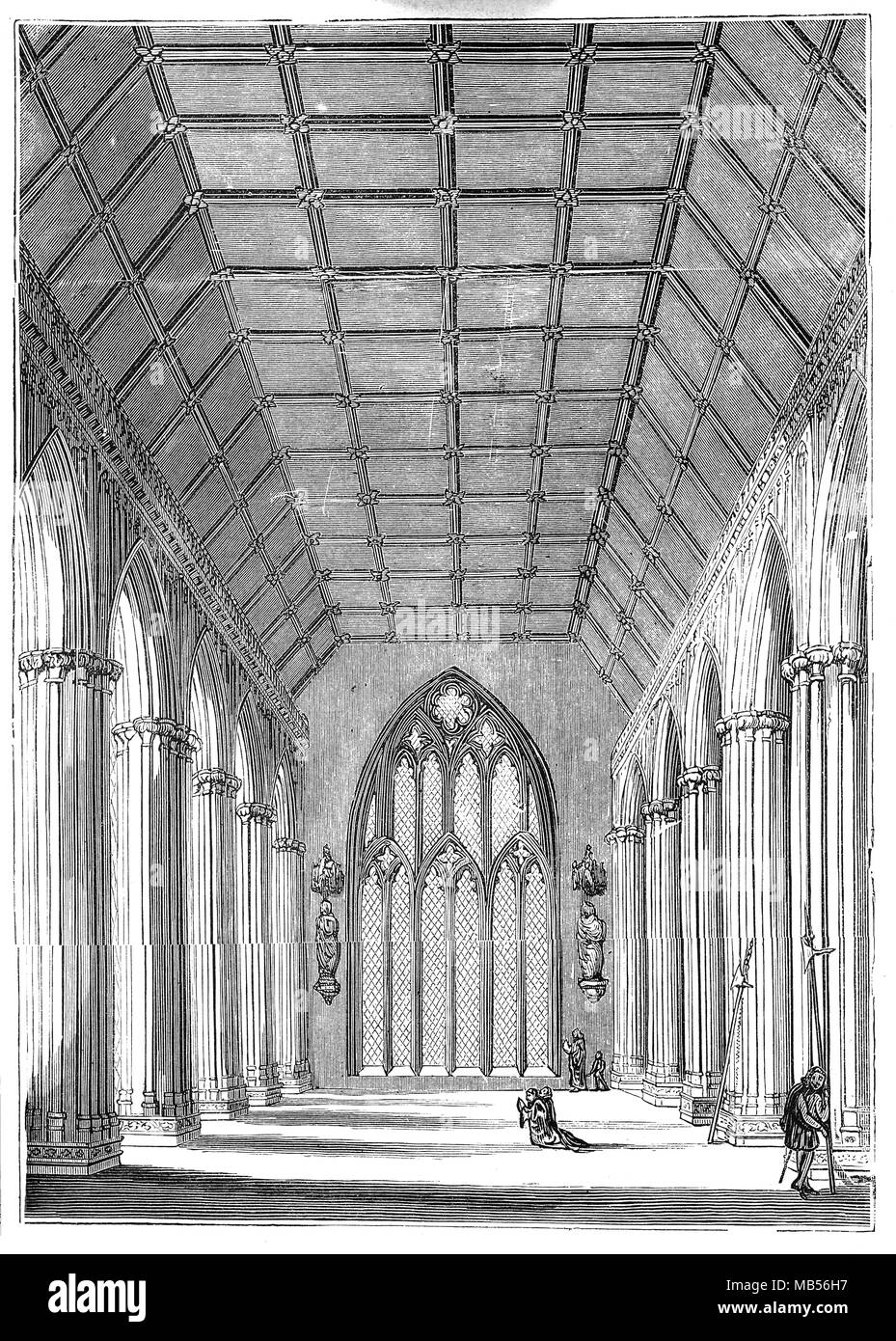 The restored St Stephen's Chapel Ruins,  after the fire that destroyed the Palace of Westminster on 16 October 1834. Scattered throughout the Chapel are pieces of masonry from the destroyed House of Commons (formerly St Stephen's Chapel) above. - Stock Image