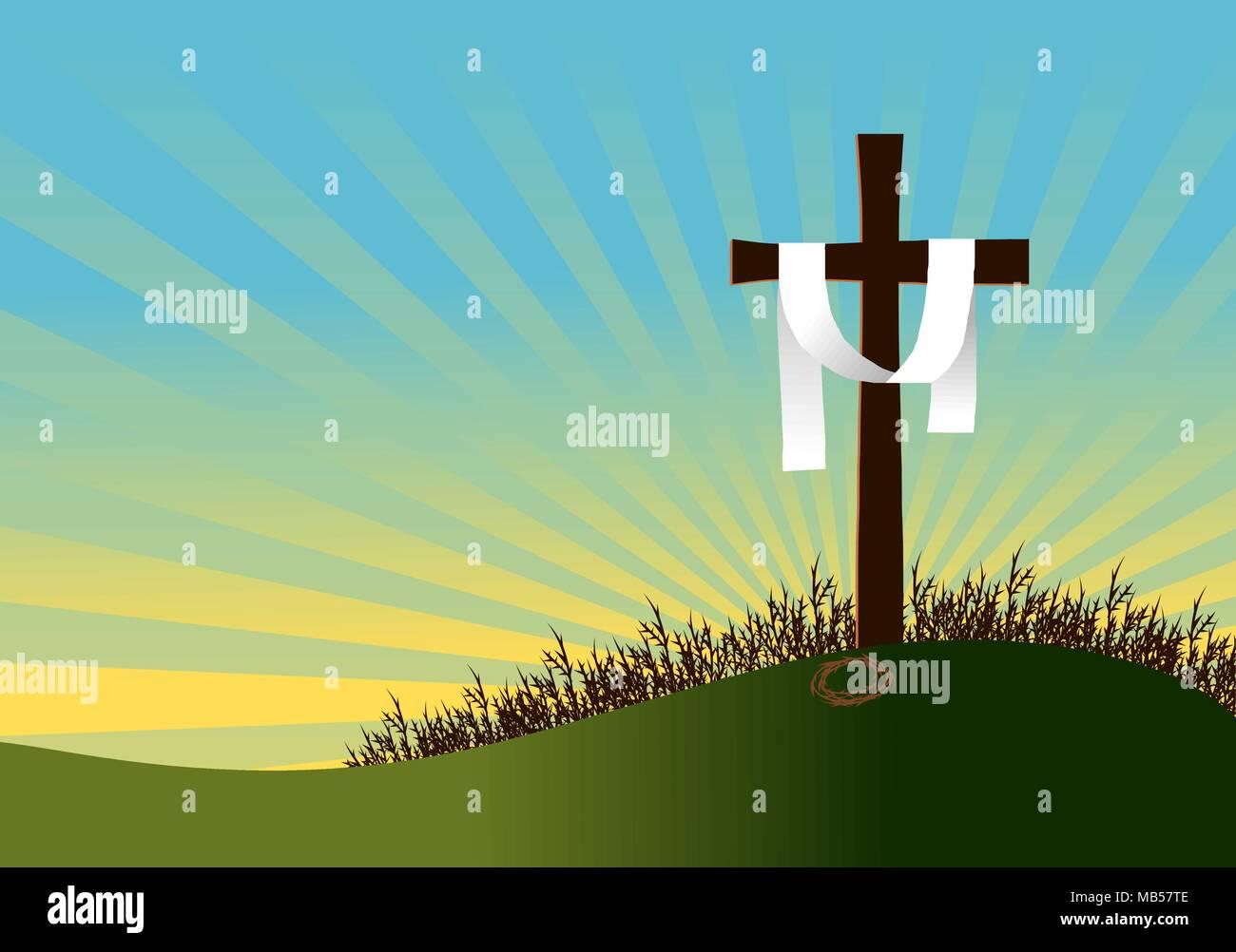 Design alluding to the resurrection of Jesus Christ. Vector illustration. - Stock Image