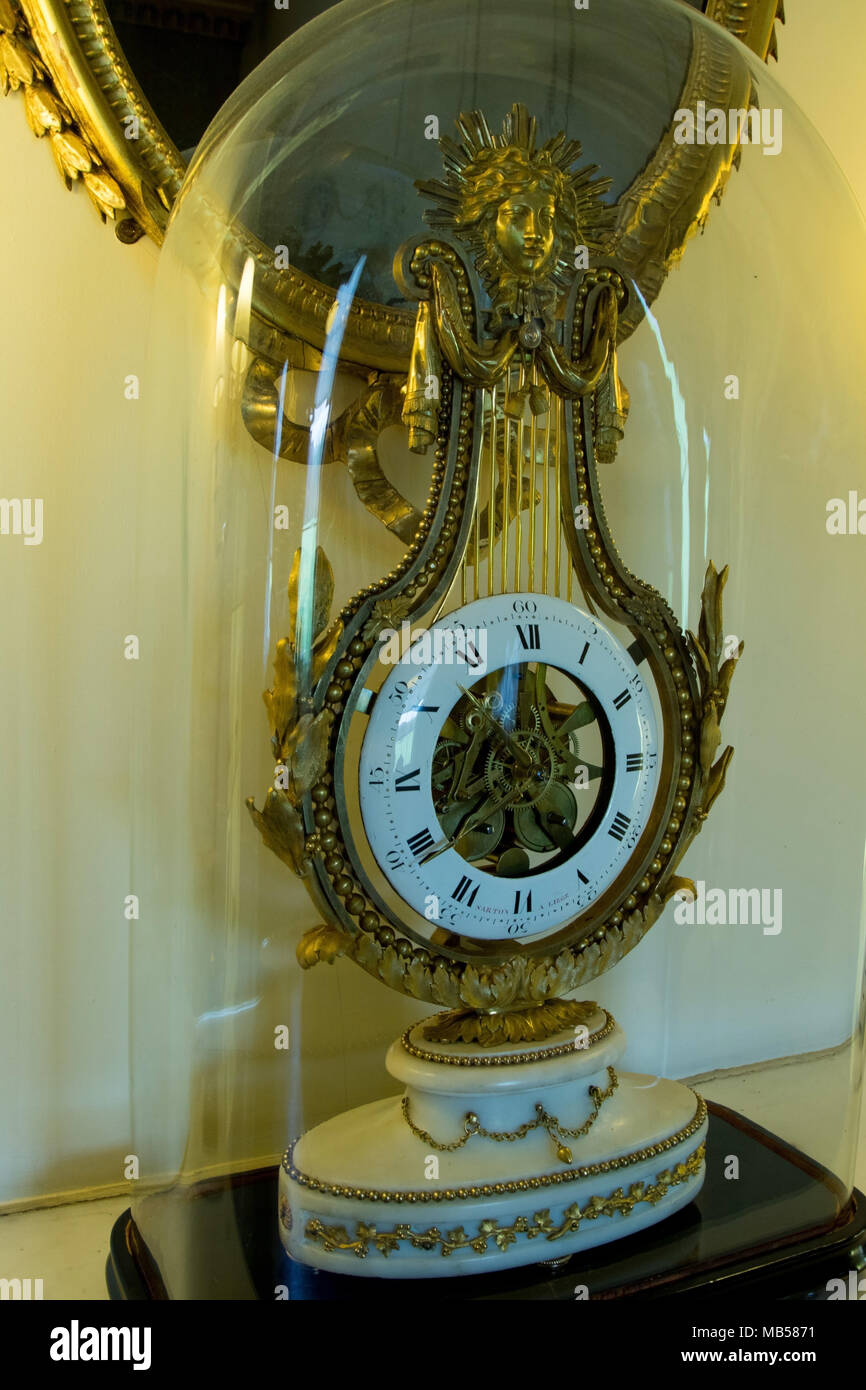 Antique clock in Princess Mary's Dressing Room. - Stock Image