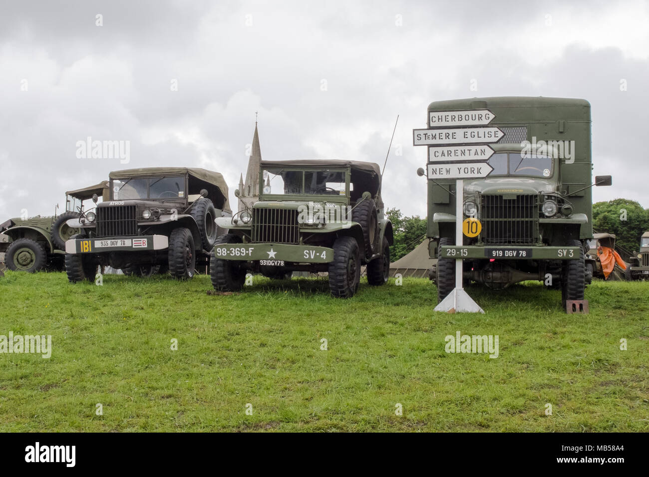 Colleville sur mer, France, Jun 4th 2014: re-enactment of military camp on the occasion of the anniversary of the Normandy landings. - Stock Image
