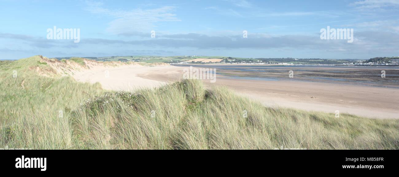 Sand dunes in summer, Crow Point Devon UK - Stock Image
